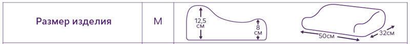Ортопедическая подушка с эффектом памяти и выемкой под плечо, размер М (8 и 12,5 см)