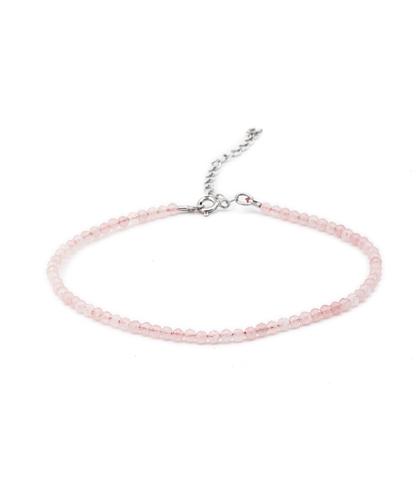 Серебряный браслет на ногу с розовым кварцем