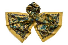 Шерстяной золотистый палантин с орнаментом (0476 PAL 8)