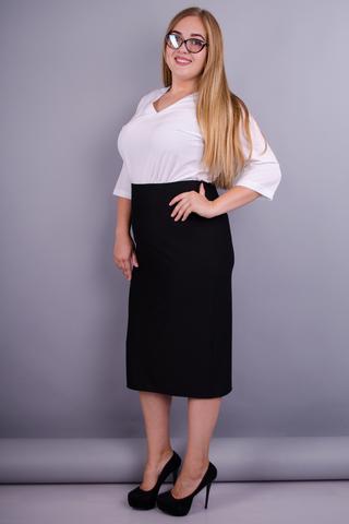 Симона. Универсальная юбка батальных размеров. Черный.