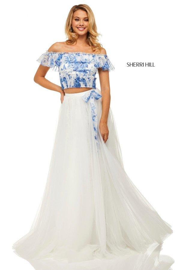 Sherri Hill 52910 Платье кроп-топ (Crop Top) длинное и пышное