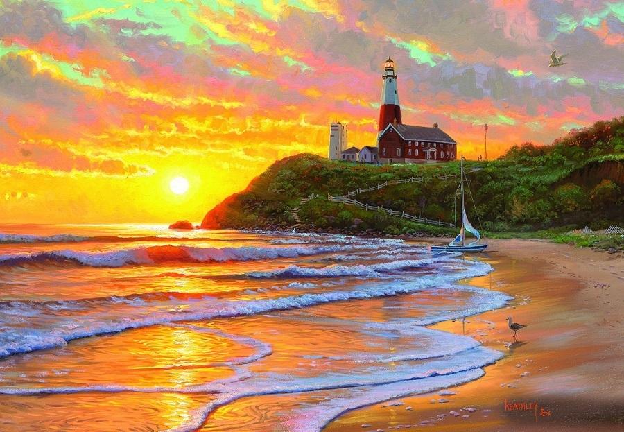 Картина раскраска по номерам 30x40 Маяк на берегу (арт ...