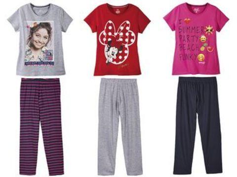 Пижама для девочки (розовая футболка + тёмно-синие брюки) Emoji