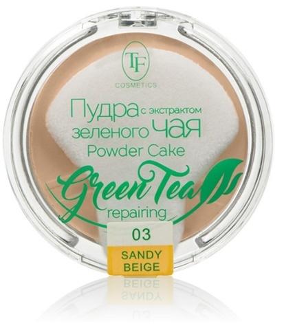ТФ Пудра компактная для лица с экстрактом зеленого чая тон 03 песочный беж  ТР-16