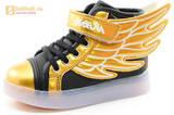 Светящиеся кроссовки с крыльями с USB зарядкой Бебексия (BEIBEIXIA), цвет черный золотой, светится вся подошва. Изображение 1 из 20.