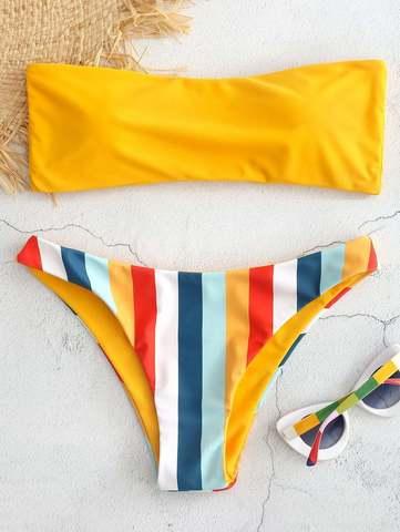 купальник бандо разноцветный желтый радуга