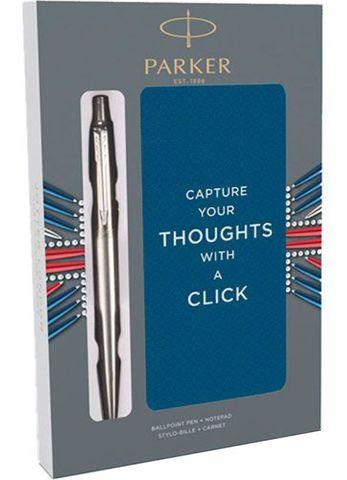 Подарочный набор с блокнотом и Шариковые ручки Parker Jotter St. Steel СT