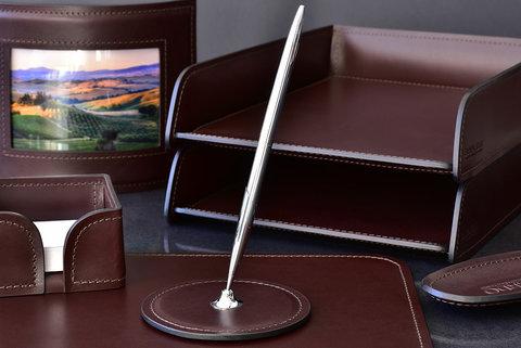 Подставка для одной ручки BUVARDO LUX из кожи Full Grain Bologna Brown