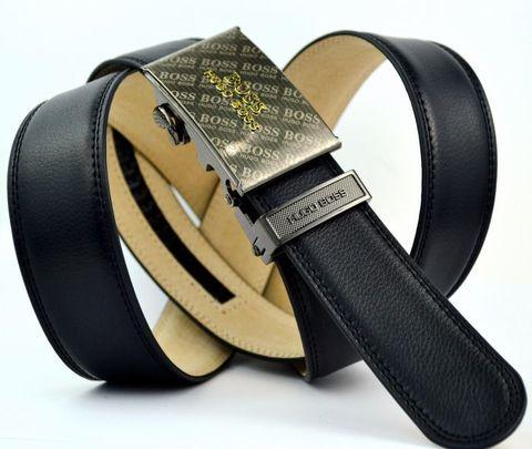 Стильный кожаный чёрный прошитый брючный ремень с автоматической пряжкой Hugo Boss (копия) 35Brend-Auto-011