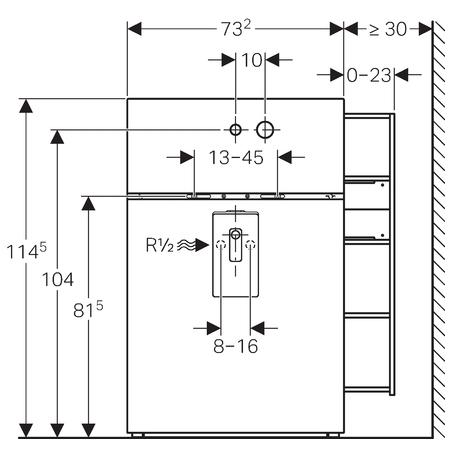 Сантехнический модуль для раковины Geberit Monolith 131.041.SQ.1