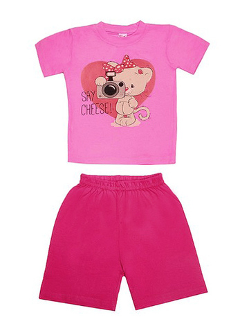 DL11-73-18-28 Комплект детский, розовый (футболка+шорты)