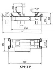 Схема. Канавный домкрат (траверса) пневмогидравлический, г/п 13,5т BUTLER KP118P (Италия)