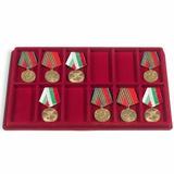 Флокированный лоток для орденов и медалей, тип L, на 12 прямоугольных ячеек