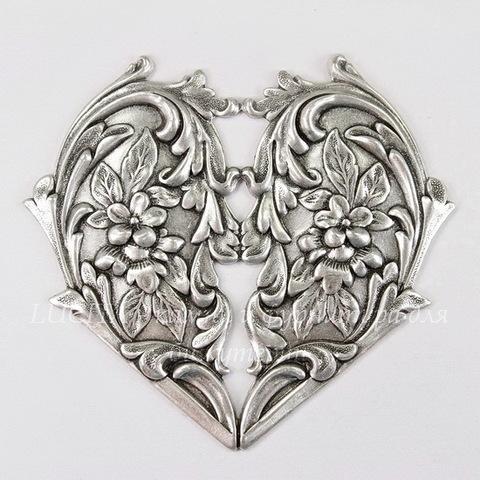 """Винтажный декоративный элемент - штамп """"Сердце с цветами"""" 65х60 мм (оксид серебра) (светлые)"""