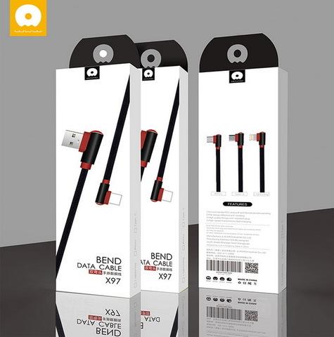Кабель Type-C WUW X97 Game Cotton, 1m., 2A, угловой тканевый, black