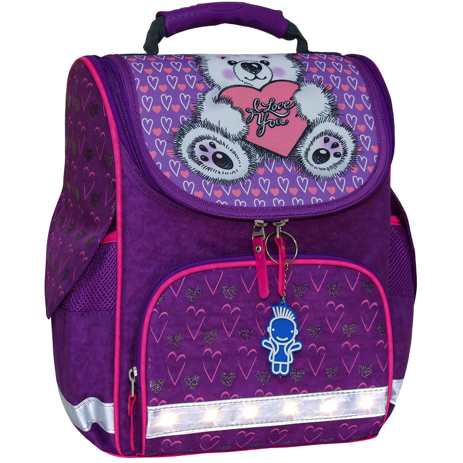 Школьные рюкзаки Рюкзак школьный каркасный с фонариками Bagland Успех 12 л. фиолетовый 377 (00551703) IMG_7265блеск.jpg