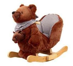 Rock My Baby Качалка меховая Медведь с медвежонком (JR2588B)