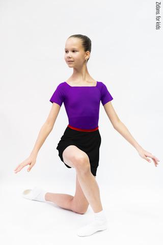 Детский комплект: купальник Футболка фиолетовый + юбка