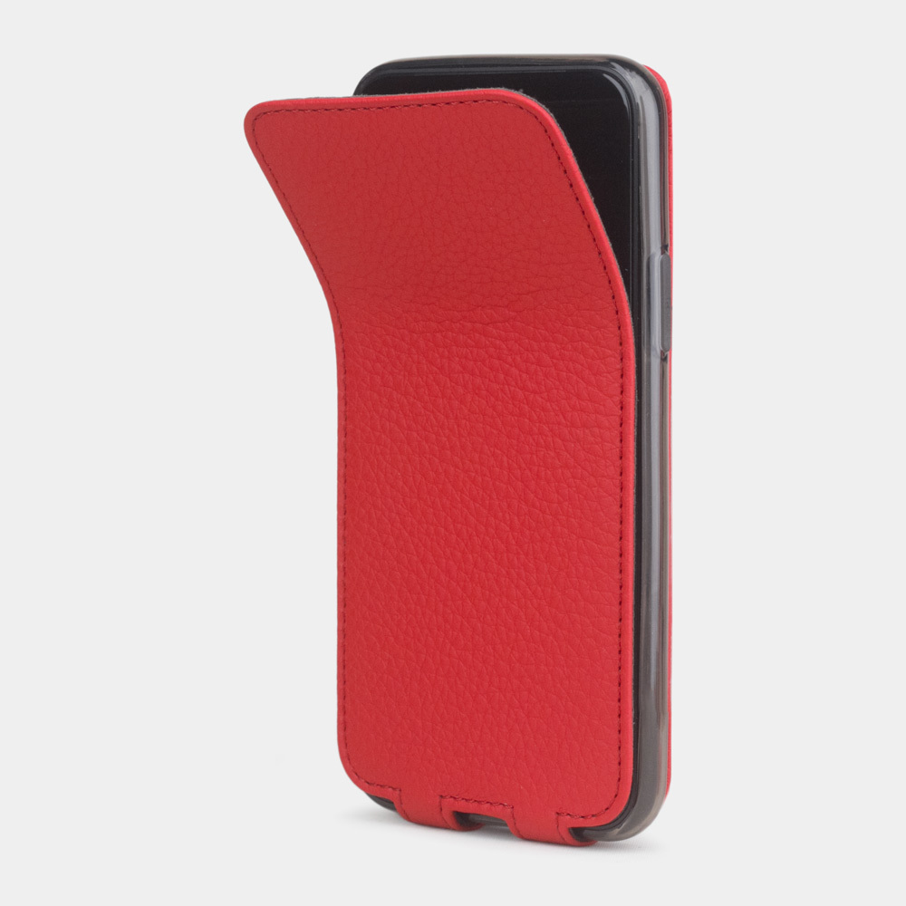 Чехол для iPhone 11 Pro Max из натуральной кожи теленка, красного цвета