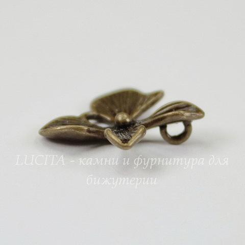 """Подвеска """"Цветочек"""" (цвет - античная бронза) 15х15 мм"""