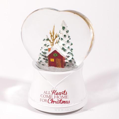 Стеклянный шар со снегом Сердце