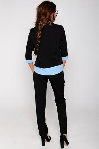 Деловой брючный костюм с эффектной отделкой. Отличный вариант для уверенной в себе даме. Брюки на резинке. (Длина брюк: 44-46=100см; 48-50=103см;)