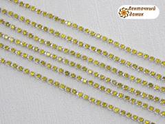 Цепь стразовая ss10 лимонные камни на серебре