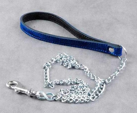 Велюровый поводок цепной синий