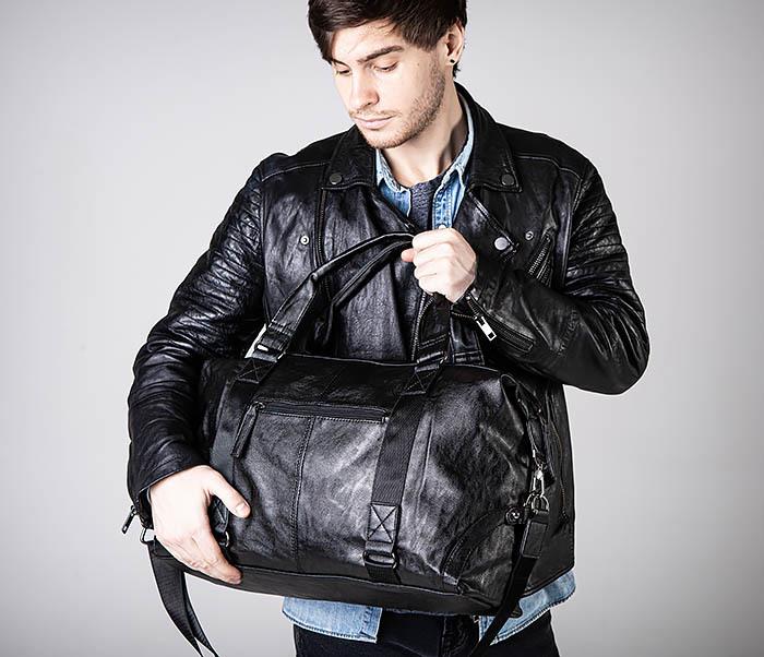 BAG546 Кожаная мужская сумка для поездок фото 04