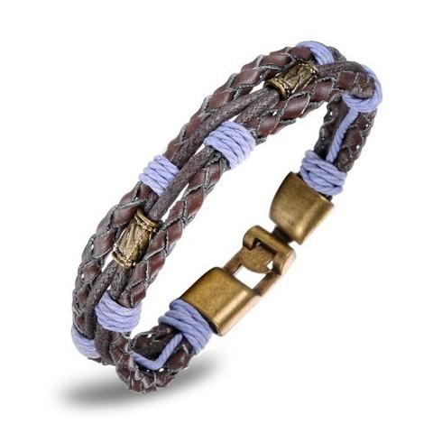 Мужской браслет коричневый из шнура, кожи и металла с фиолетовой ниткой Steelman mn018