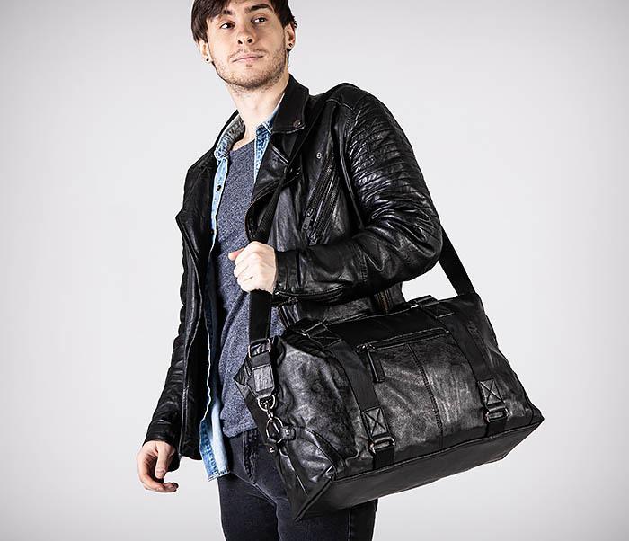 BAG546 Кожаная мужская сумка для поездок фото 05