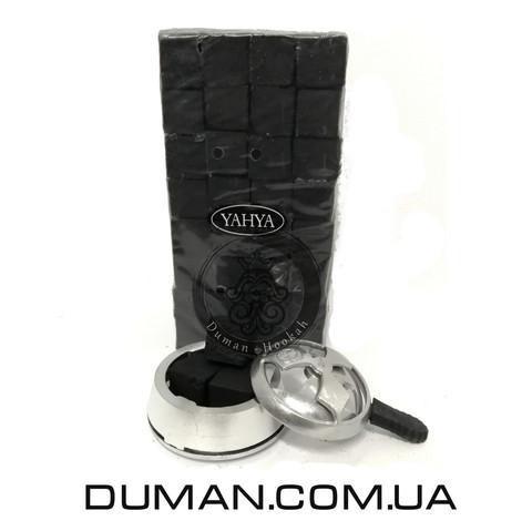 Натуральный кокосовый уголь для кальяна Yahya (Яхуа) | 1кг 96куб 22*22мм