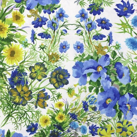 Портьерная хлопковая ткань Васильковое поле