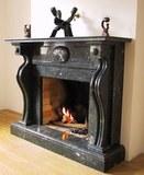 Арт 022 Каминный портал из натурального черного мрамора или гранита Габбро на выбор