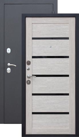 Дверь входная Бронин Грань Муар царга, 2 замка, 1,2 мм  металл, (чёрный муар+лиственница светлая)