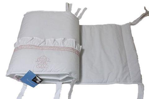Бампер для детской кроватки 390х45 Bovi Вензель бело-розовый