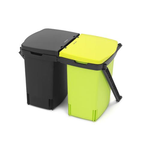 Встраиваемый двухсекционный мусорный бак Brabantia (2х10л), Черный, арт. 482205 - фото 1