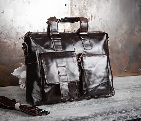 Мужская кожаная сумка портфель с ремнем на плечо (под А4)