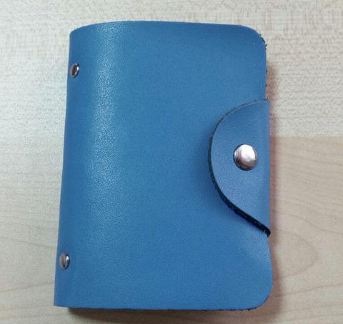 Визитница женская из кожи голубая DoubleCity BC-01-GL