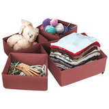 Набор жестких кофров для хранения вещей (4 шт), бордовый 1