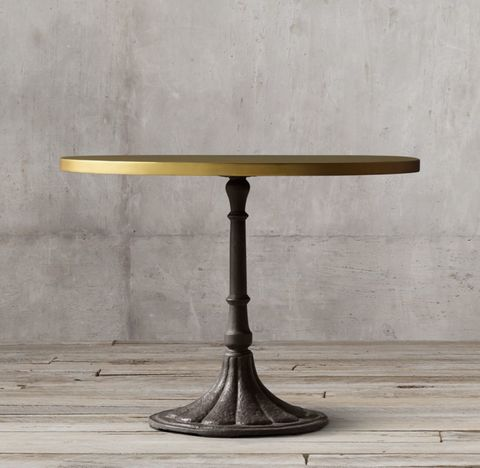 20th C. Chrysanthemum Brasserie Table with Brass Top