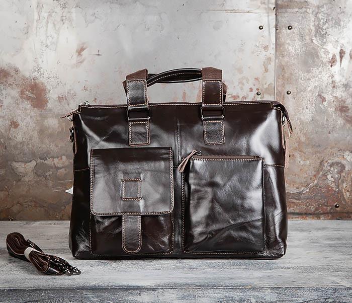 BAG457-2 Мужская кожаная сумка портфель с ремнем на плечо (под А4) фото 02
