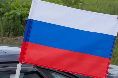Флаг России 30х40 см с креплением на боковое стекло автомобиля