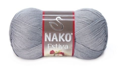 Пряжа Nako Estiva серый 10880