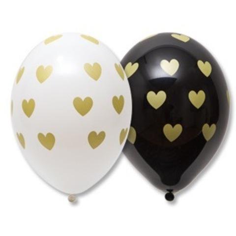 Шары белые и черные пастель с рисунком Золотые сердечки, 36 см