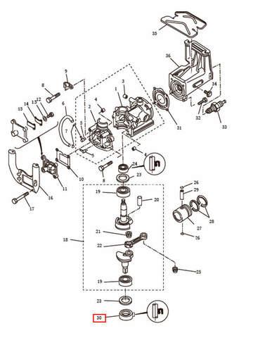 Сальник коленвала нижний  для лодочного мотора T2,5 SEA-PRO (2-30)