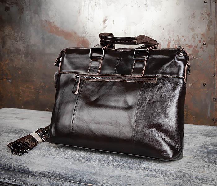 BAG457-2 Мужская кожаная сумка портфель с ремнем на плечо (под А4) фото 06