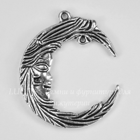"Подвеска ""Месяц"" (цвет - античное серебро) 38х32 мм"