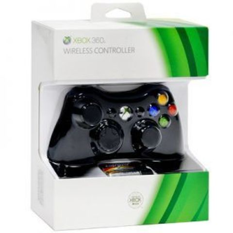 Microsoft Xbox 360 Беспроводной контроллер (черный, оригинал, Б/У)