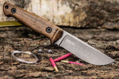 Туристический нож Nikki AUS-8 TacWash, орех, кожа, ОГРАНИЧЕННАЯ СЕРИЯ